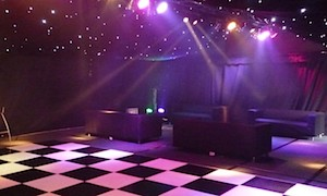 Marquee starcloth lining and black and white dancefloor