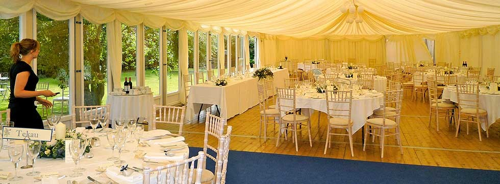Wedding marquee with ivory interior
