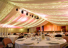 Indoor marquee conversion with marquee linings and marquee lighting