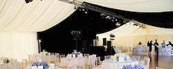 Wedding marquee with blackout lining and ivory