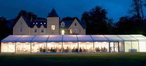 Large Clearspan wedding marquees for hire at various locations in Scotland.