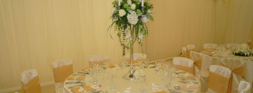 table setting at marquee wedding