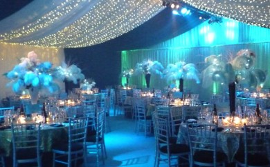 Turquoise Themed Party with Pea Lamp Canopy