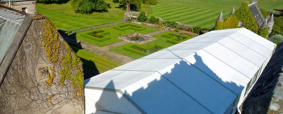Wedding Marquee at Duntreath Castle set in gardens
