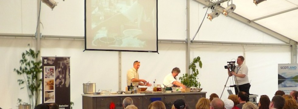 Cookery demonstraion in marquee