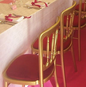 Gold Bentwood Chair with red seat pad