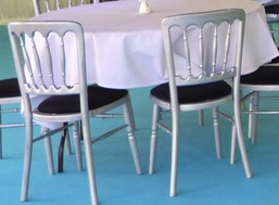 Silver Bentwood Chair with black seat pad
