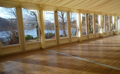 Marquee interior for winter wedding in Scotland