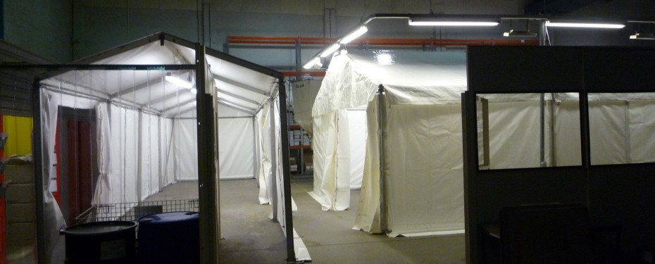 Heating solutions for warehouse interior marquees