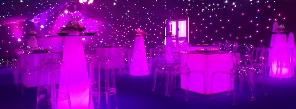 Marquee ghost furniture, LED lighting and Black Starcloth ceiling and walls