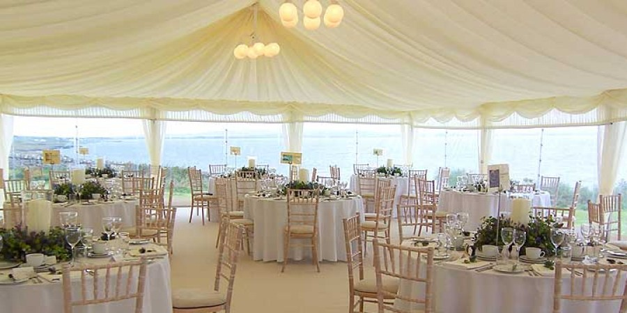 Wedding marquee interior from Tents and Events