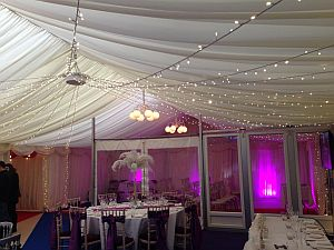Marquee interior with partition for wedding ceremony