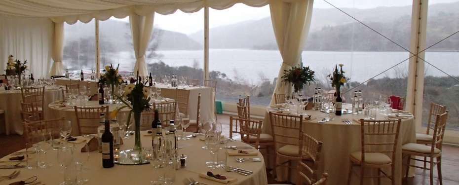 Wedding marquee in winter