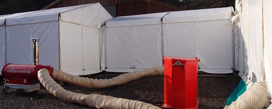 heating system for marquees