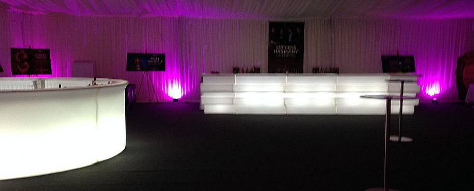 LED bar hire for marquees
