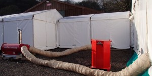 Marquee heating installed outside marquee