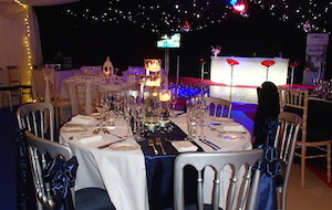 Marquee interior with star cloth and LED bar