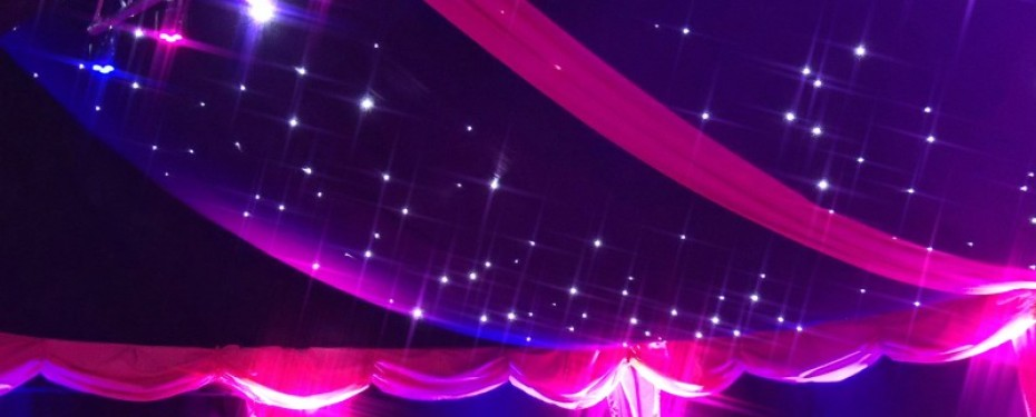 Marquee ceiling lighting and swags