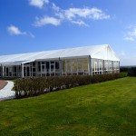 Wedding marquee with solid glazing