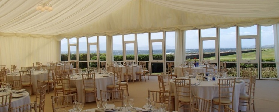 Marquee Dining Area with Solid Glazed Windows