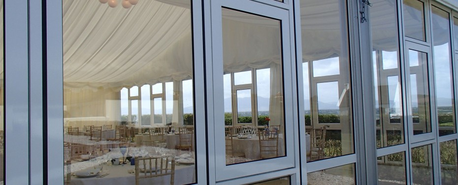Solid glazing in wedding marquee