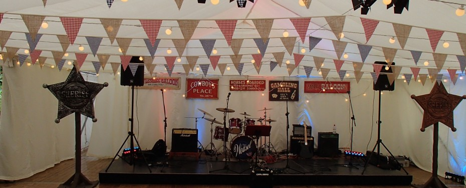 Stage set up in marquee interior