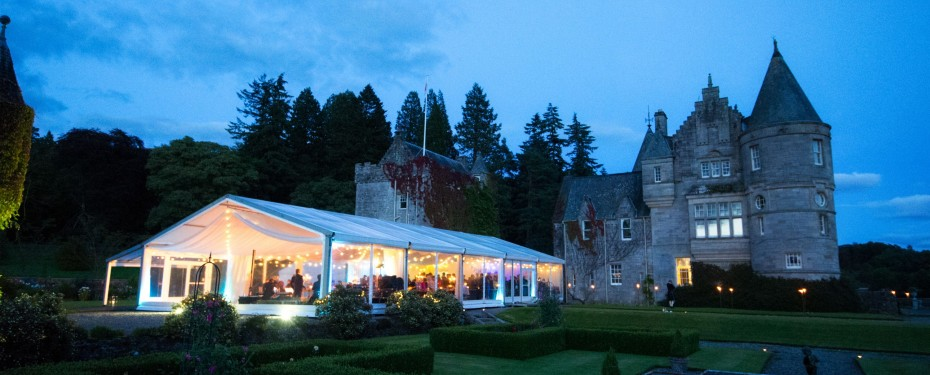 Duntreath Castle marquee clear gable evening