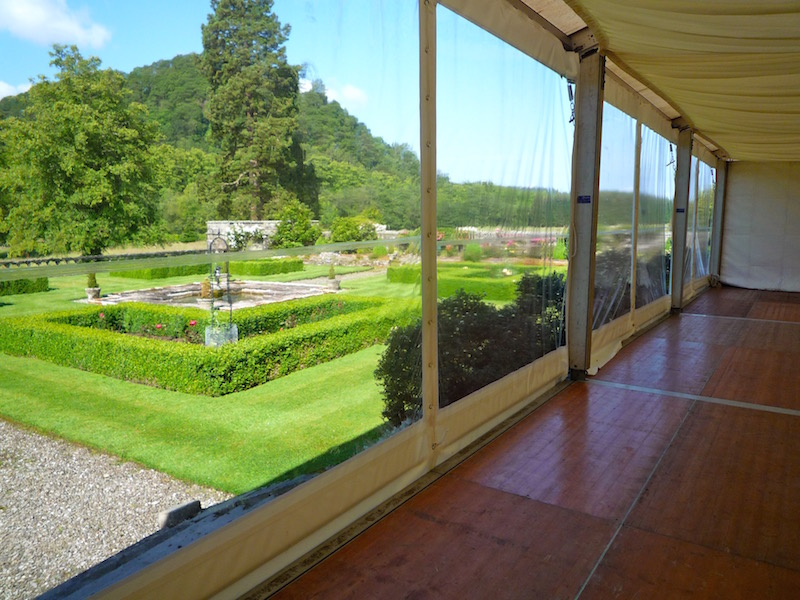 Panoramic marquee window walls at Duntreath Castle