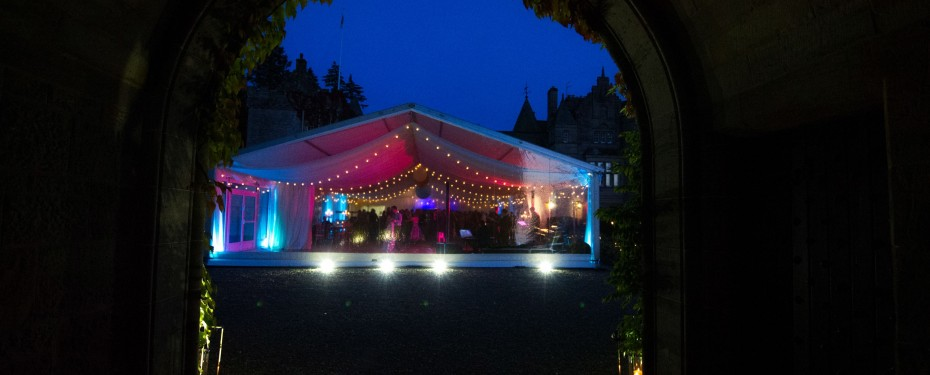 Wedding Marquee at Duntreath Castle showing marquee clear gables