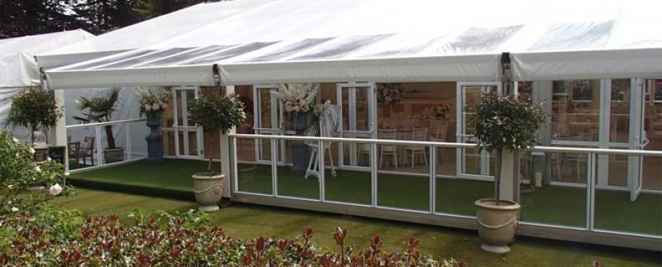 Wedding Marquee with Glass balustrades to form veranda area
