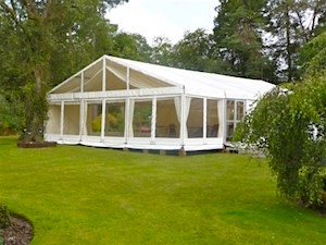 garden marquee with clear gables