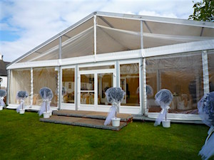 Wedding marquee with clear gables