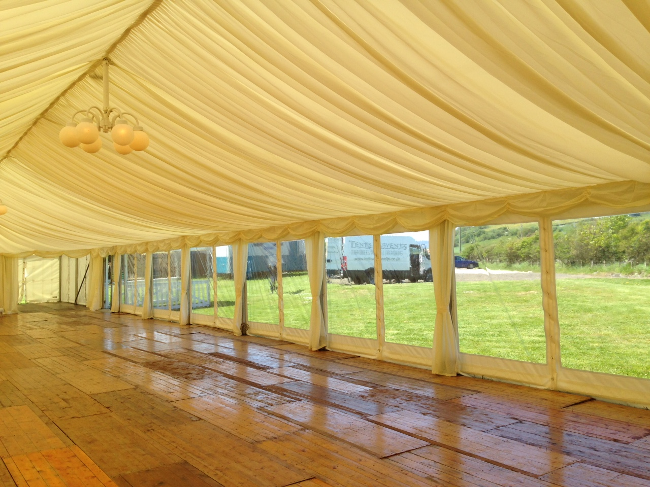 Wedding marquee interior, Isle of Bute.