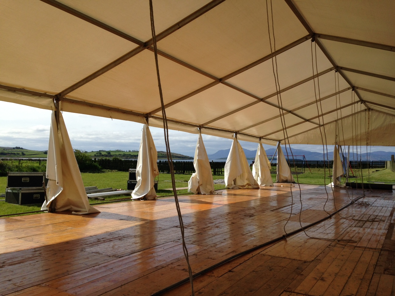 Erecting a wedding marquee on the Isle of Bute.