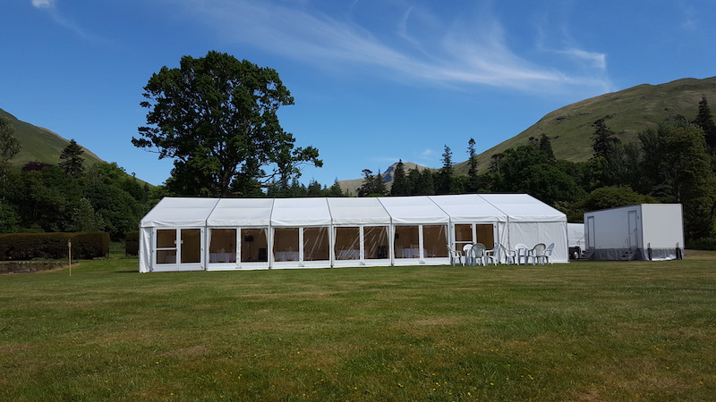 Wedding marquee with toilets Ardkinglas Cairndow