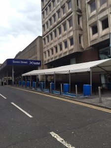 Temporary marquee at Queen Street Station in Glasgow