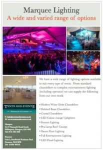 Tents and Events Marquee Lighting Brochure