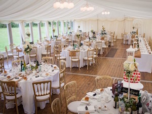 wedding marquee interior High Wards, Gartocharn