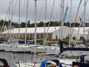 Two of our marquees nestled amongst the yachts at Scotland's Boat Show