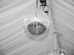 Glitter ball in marquee
