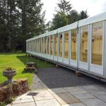 Event Marquee with solid glass walls