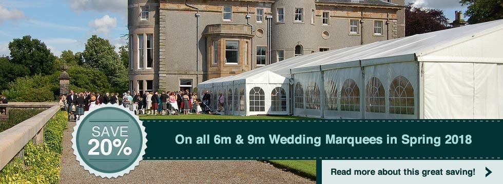 Save 20% on all 6m & 9m Wedding Marquees in Spring 2018
