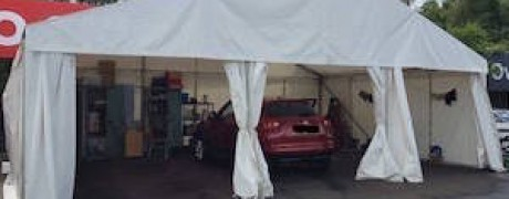 Temporary marquee area used for car valetting