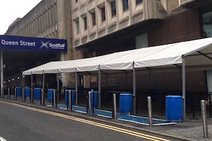 Temporary marquee at Queen St Station in Glasgow