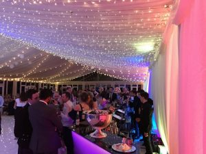 marquee bar area and pea lamp roof canopy
