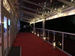 marquee glass canopy, glass verandah and red carpet