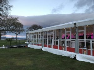 marquee with opening solid glazing and glass verandah