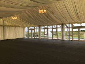 Interior finish of a hire marquee