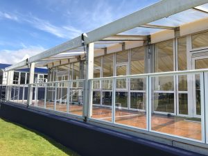 marquee glass canopies and opening glazed windows