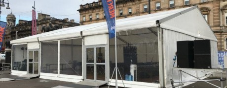 Merchandise marquee in George Square